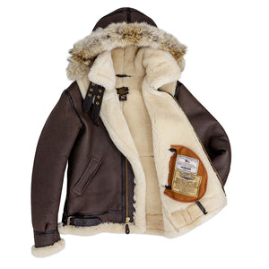 B-3 Hooded Sheepskin Bomber Jacket (Long)