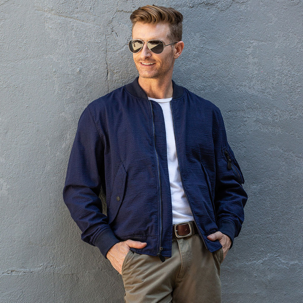 Seersucker Bomber Jacket in Navy Blue