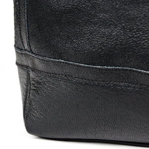 Distressed B-3 Bag black leather welted seams