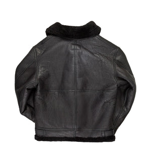 All Black B-3 Hooded Sheepskin Bomber Jacket
