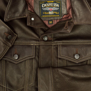 Calfskin Leather Jean Jacket-Brown