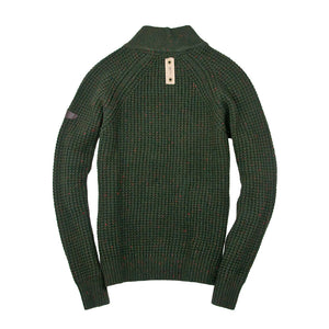 Centennial Waffle Knit Sweater in Army Back
