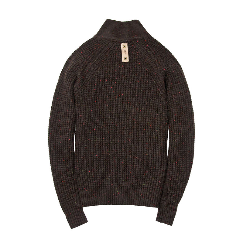 Centennial Waffle Knit Sweater in Brown Back