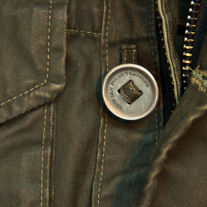 Coated Cotton Field Jacket button detail