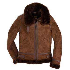 Women's B-3 Suede Bomber Jacket-Brown