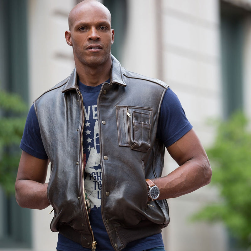 The Stearman Leather Vest