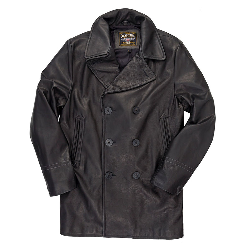 Leather Pea Coat- Cockpit USA