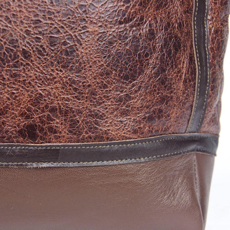 Distressed B-3 Bag russet leather welted seams