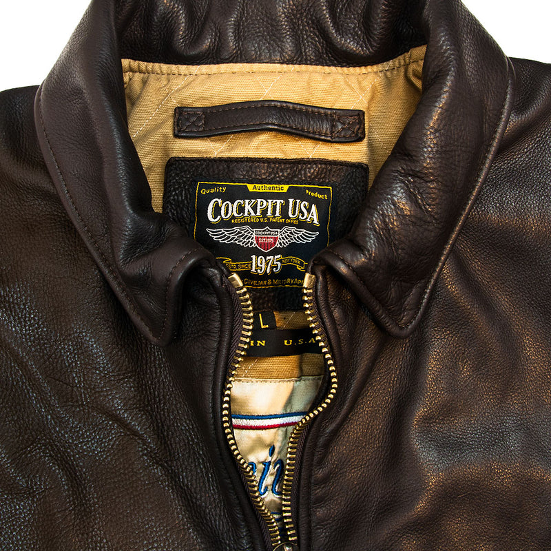 Division Commander's Leather Tanker Jacket collar