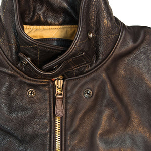 Division Commander's Leather Tanker Jacket snap collar