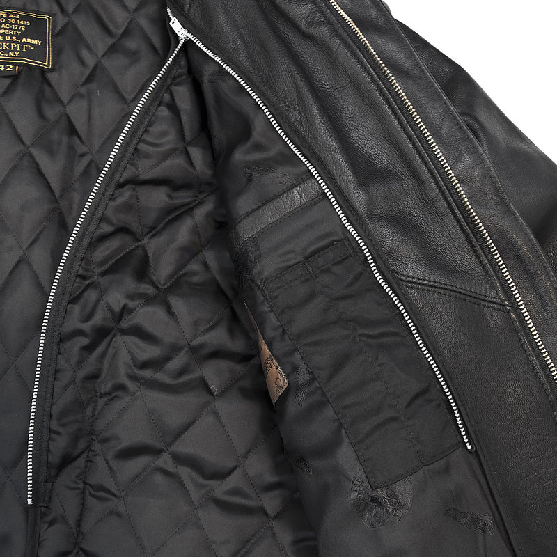 Flight Rider Leather Jacket lining detail