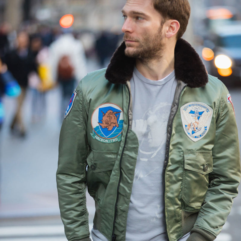 G-1 US Fighter Weapons Jacket with Patches on model