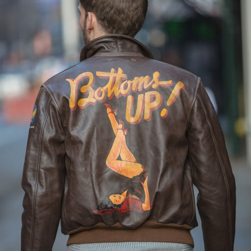 40th Anniversary Bottoms Up A-2 Pinup Jacket on model back
