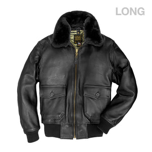 U.S. Navy Lambskin G-1 Flight Jacket (LONG)-Black