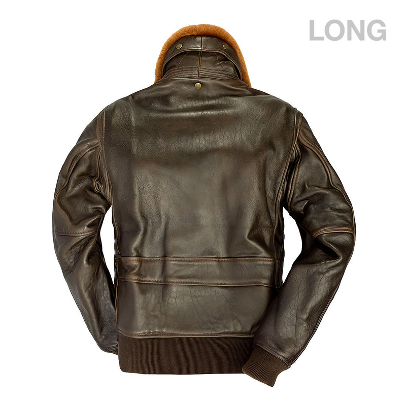 U.S. Navy Lambskin G-1 Flight Jacket (LONG)-Brown