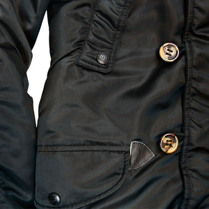N3B Long Parka detail in black