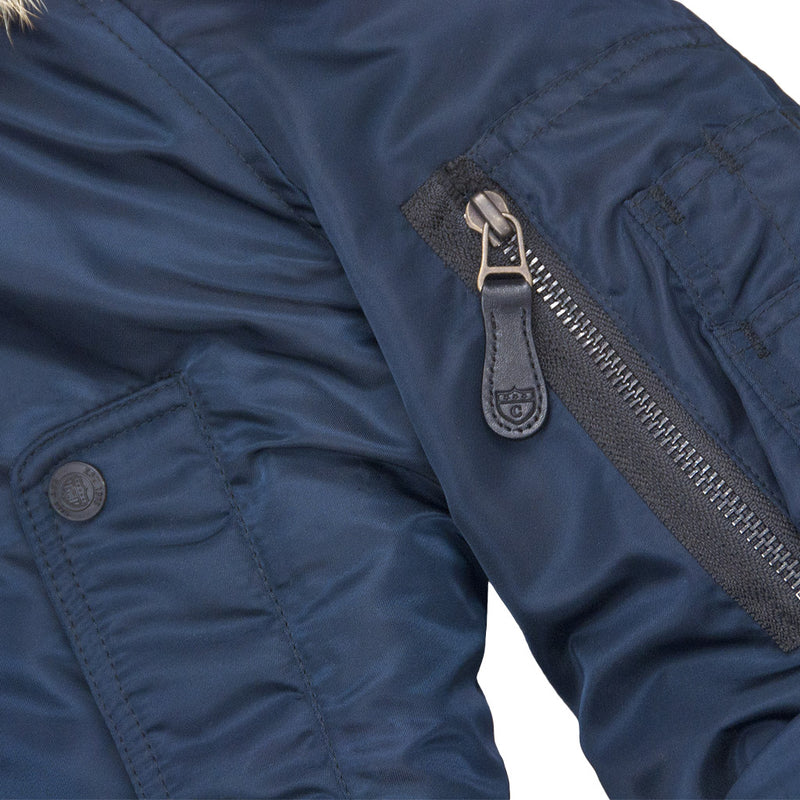 N3B Long Parka sleeve pocket in navy