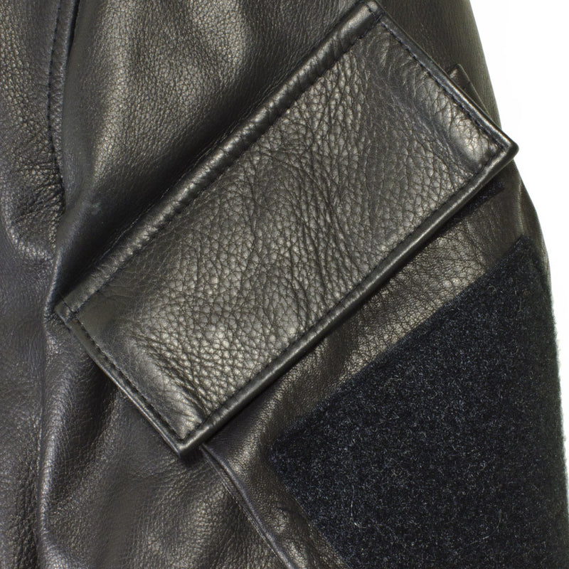 Sniper Leather Jacket upper arm pocket detail