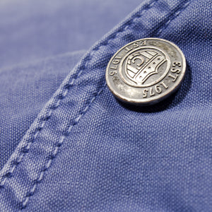 Sun Faded Cotton MA-1 Jacket in blue snap detail