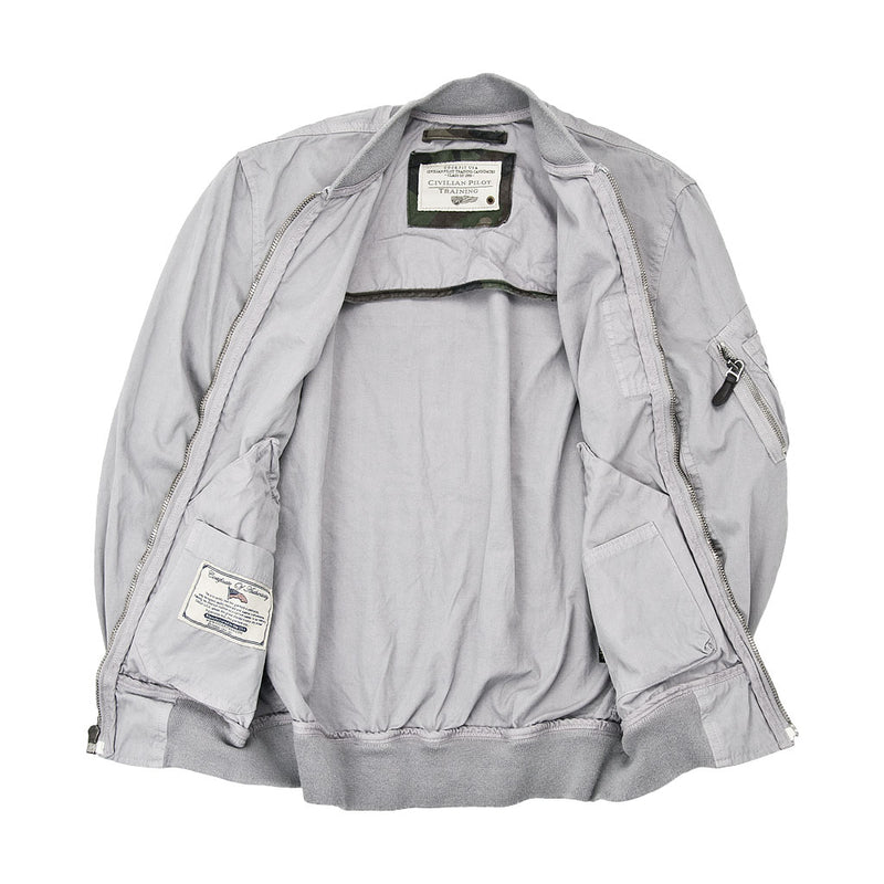 Sun Faded Cotton MA-1 Bomber Jacket-Slate