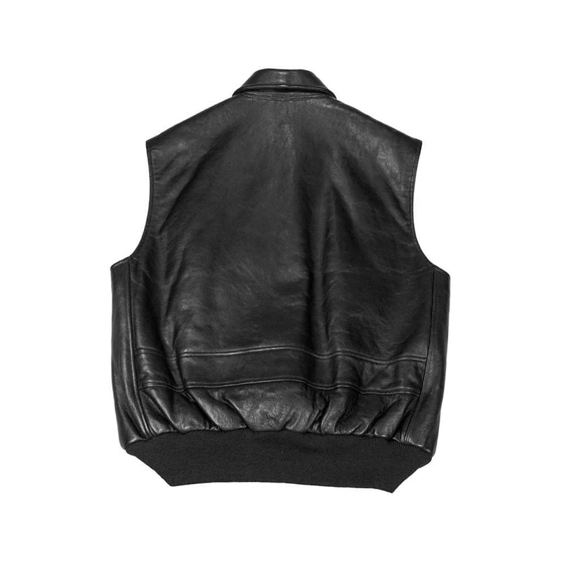 The Stearman Leather Vest-Black