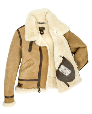 Women's B-3 Suede Bomber Jacket - Tan