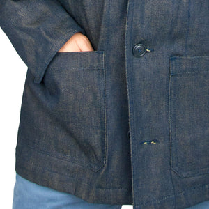 Vintage Navy Denim Work Jacket pockets