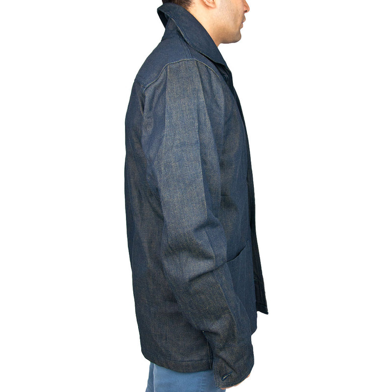 Vintage Navy Denim Work Jacket side fit