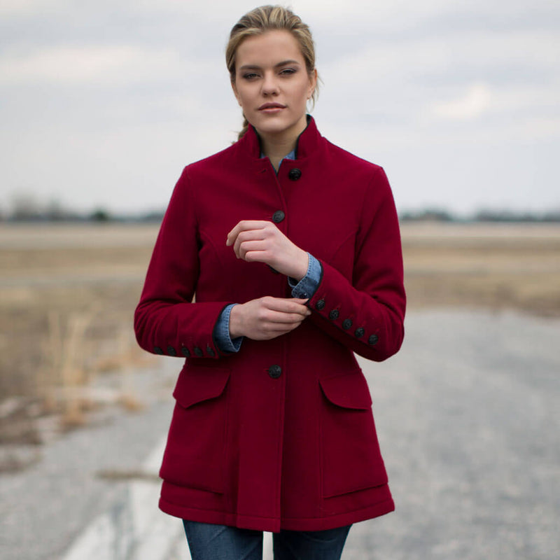 Vintage Walking Out Coat in wine
