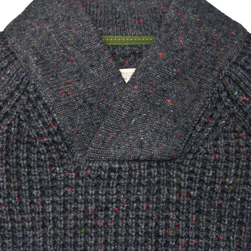 Centennial Waffle Knit Sweater in Charcoal Collar