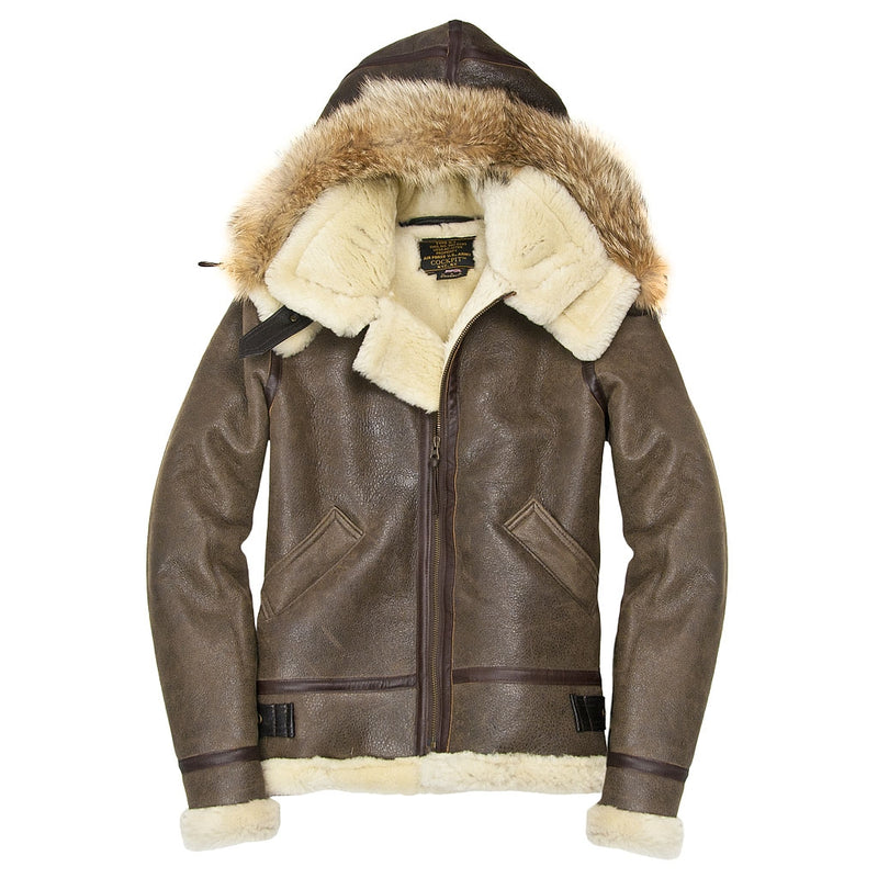 Womens Hooded Sheepskin Jacket - Cockpit USA