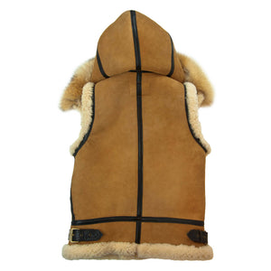 Women's Hooded B-3 Suede Vest