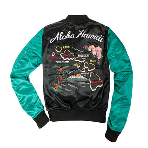 Women's Aloha Souvenir Bomber Jacket-Black/Sea Green