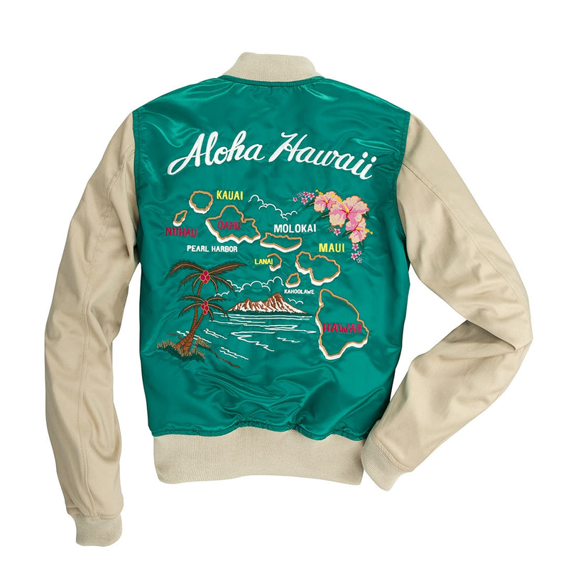 Women's Aloha Souvenir Bomber Jacket-Sea Green/Ecru