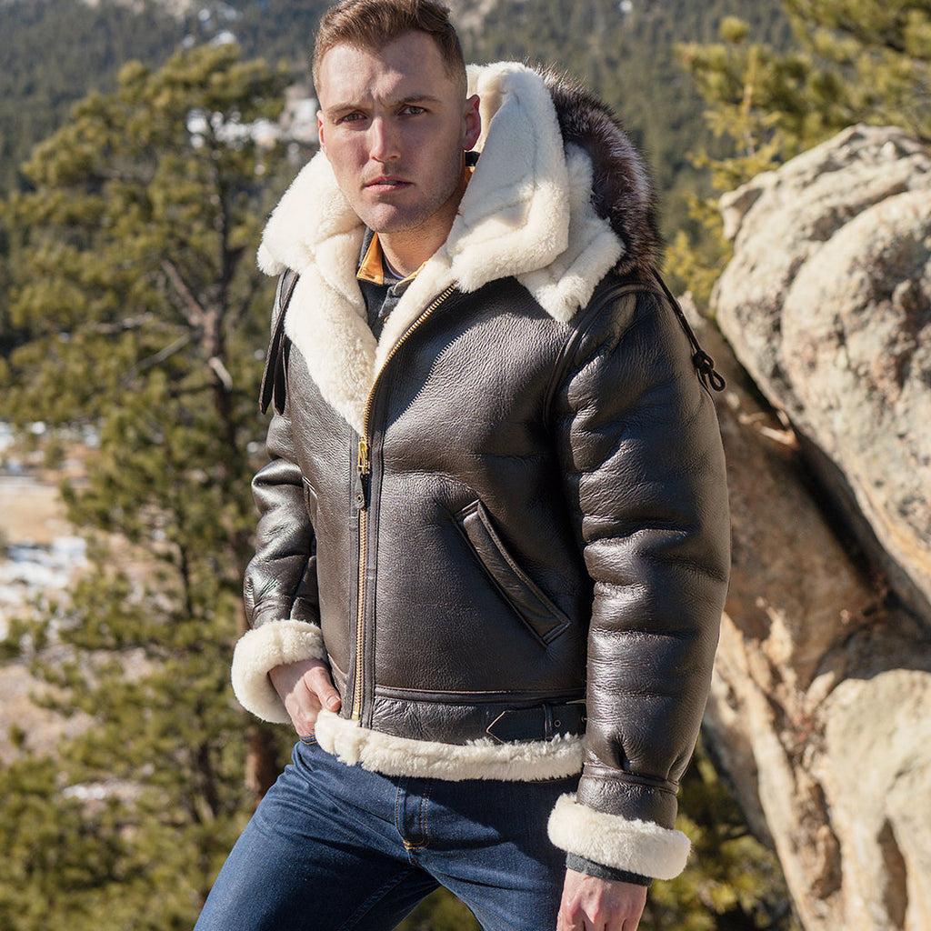 B-3 Hooded Sheepskin Bomber Jacket