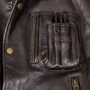 The Stearman Leather Vest-Brown