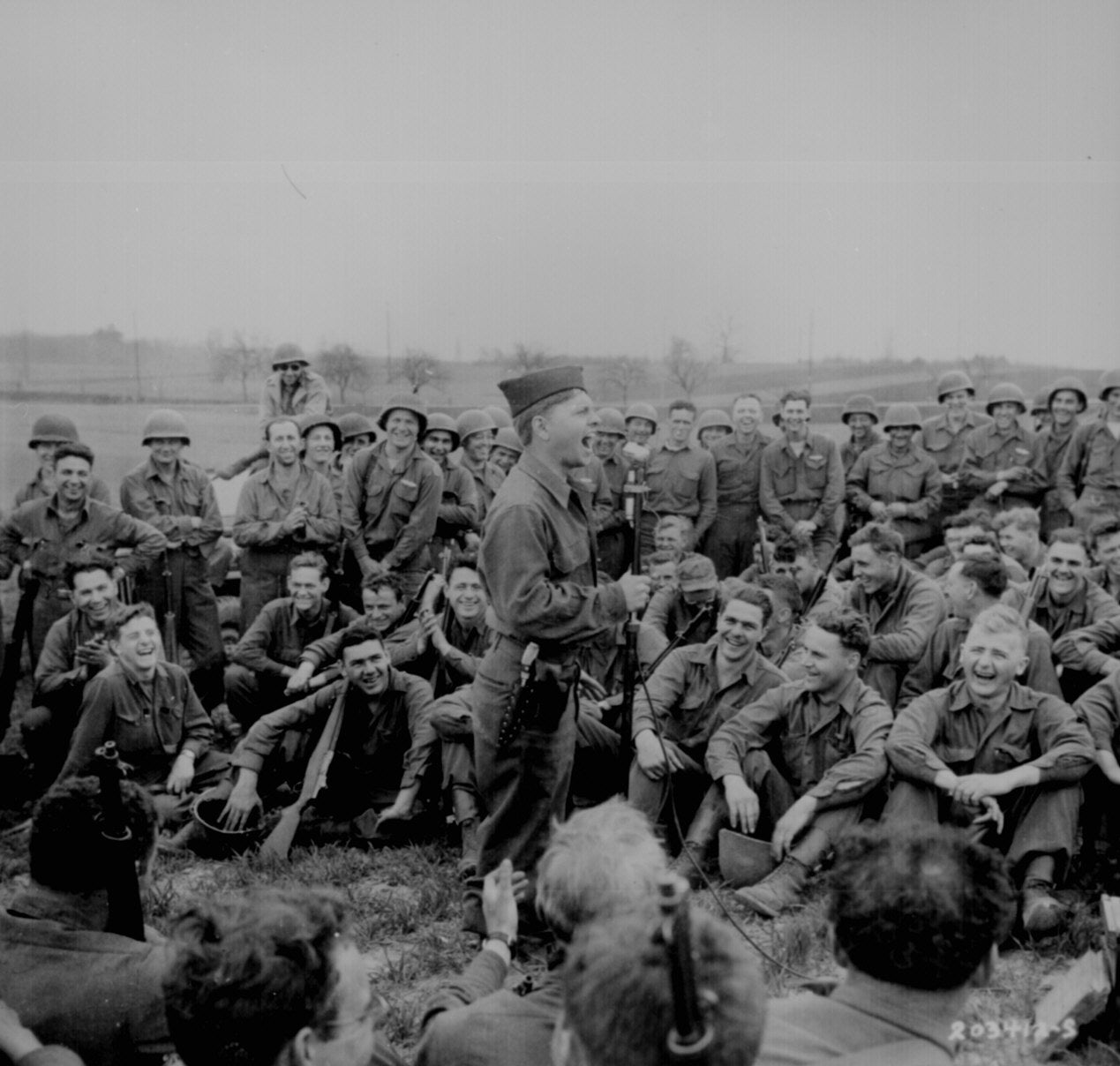 1945 April 13, Mickey Rooney Entertaining US Troops