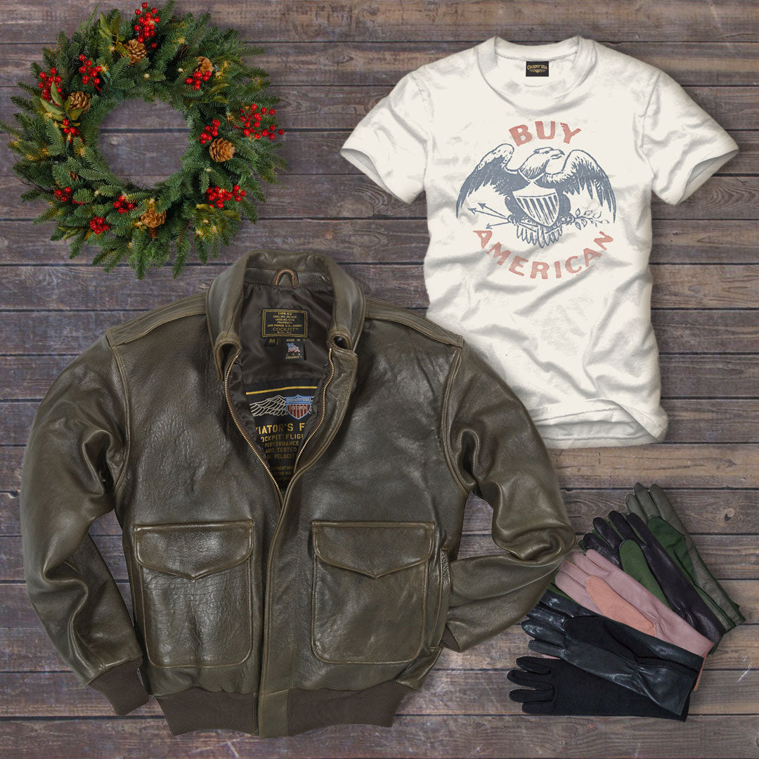 Use code: DAYTWO for 20% off our 100 Mission A-2 Pilot's Jacket, Buy American Tee, and Unisex Nomex Pilot Gloves on Dec. 11.