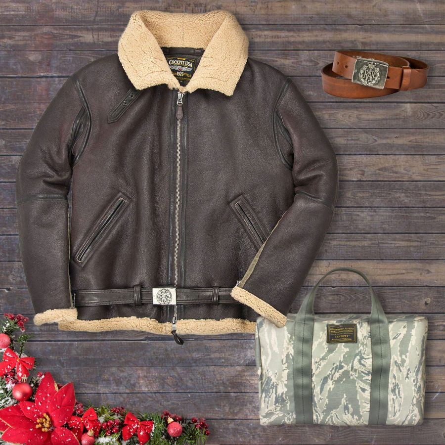 Take 20% off our R.A.F. Fighter Weight Sheepskin, R.A.F. Leather Belt, & Mini Nylon Aviator's Kit Bag on Dec. 13 with code: DAYFOUR