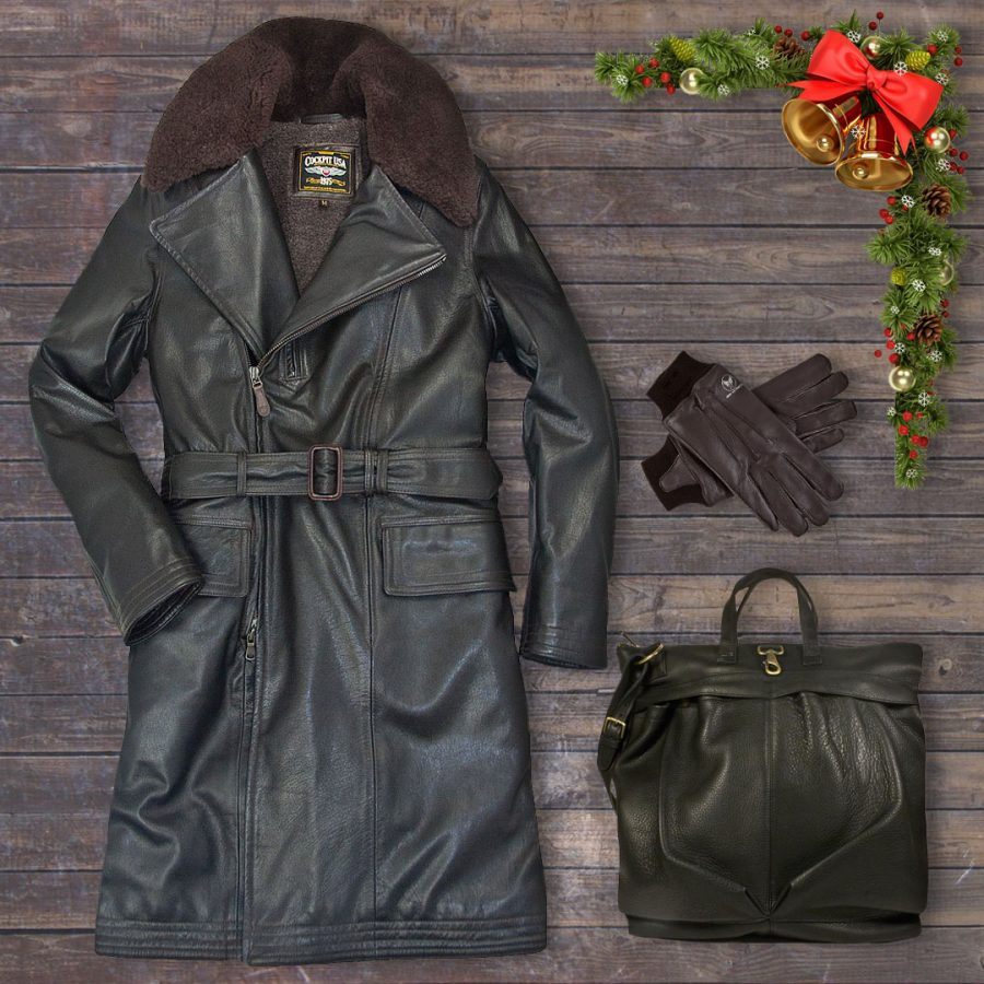 Use code: DAYFIVE for 20% off our Type M-69D Air Transport Coat, A-10 Leather Gloves, and Leather Helmet Bag on Dec. 14.