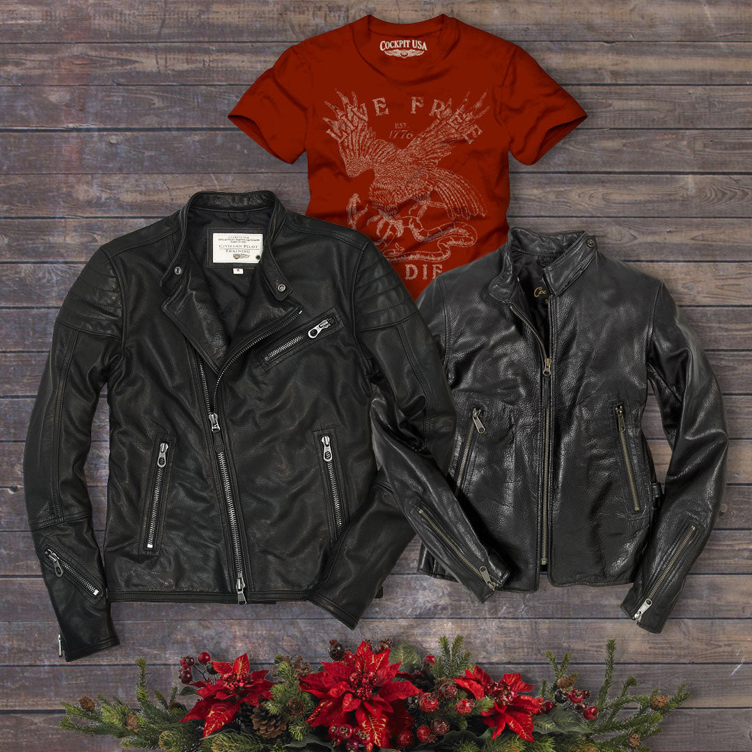 Take 20% off our Dirt Track Racer Jacket, Motorcycle Cafe Racer Jacket, and Live Free or Die Tee on Dec. 15 with code: DAYSIX