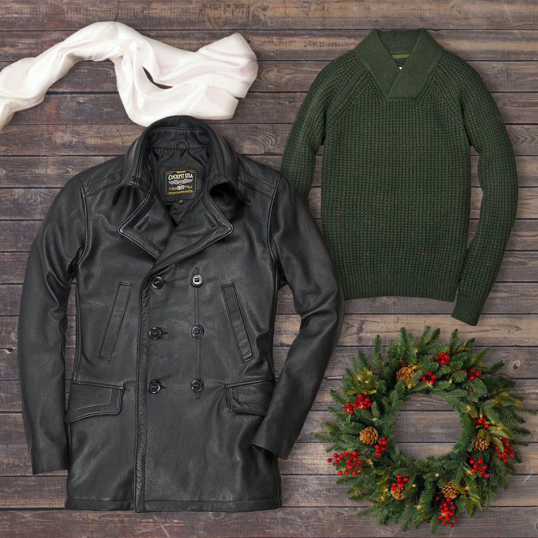 Take 20% off our Vintage Leather Naval Officers Coat, Centennial Waffle Knit Sweater, and Pilot's Silk Scarf with code DAYSEVEN on 12/16