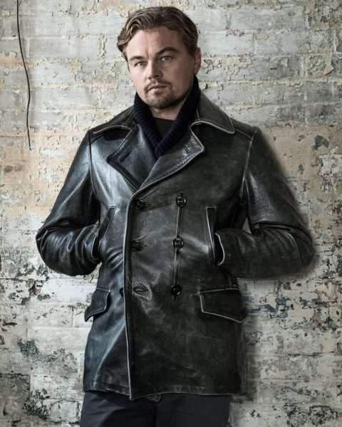 Leonardo DiCaprio wearing our Vintage Leather Naval Officers Coat for Wired Magazine.