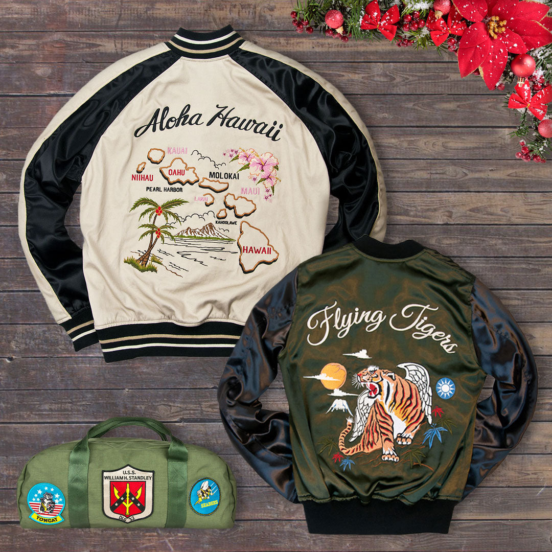 Take 20% off Cockpit USA's Aloha Hawaii Souvenir Jacket, 40th Anniversary Flying Tigers Tour Jacket, and Top Gun Carry Bag with code: DAYEIGHT on 12/17