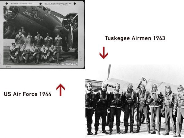 US Army Air Force 1944 in front of B-17. Tuskegee Airmen 1943 wearing sheepskin and A-2 Pilot Jackets.