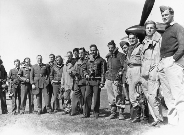 RAF Aircrew in front of a Hurricane Aircraft 1940