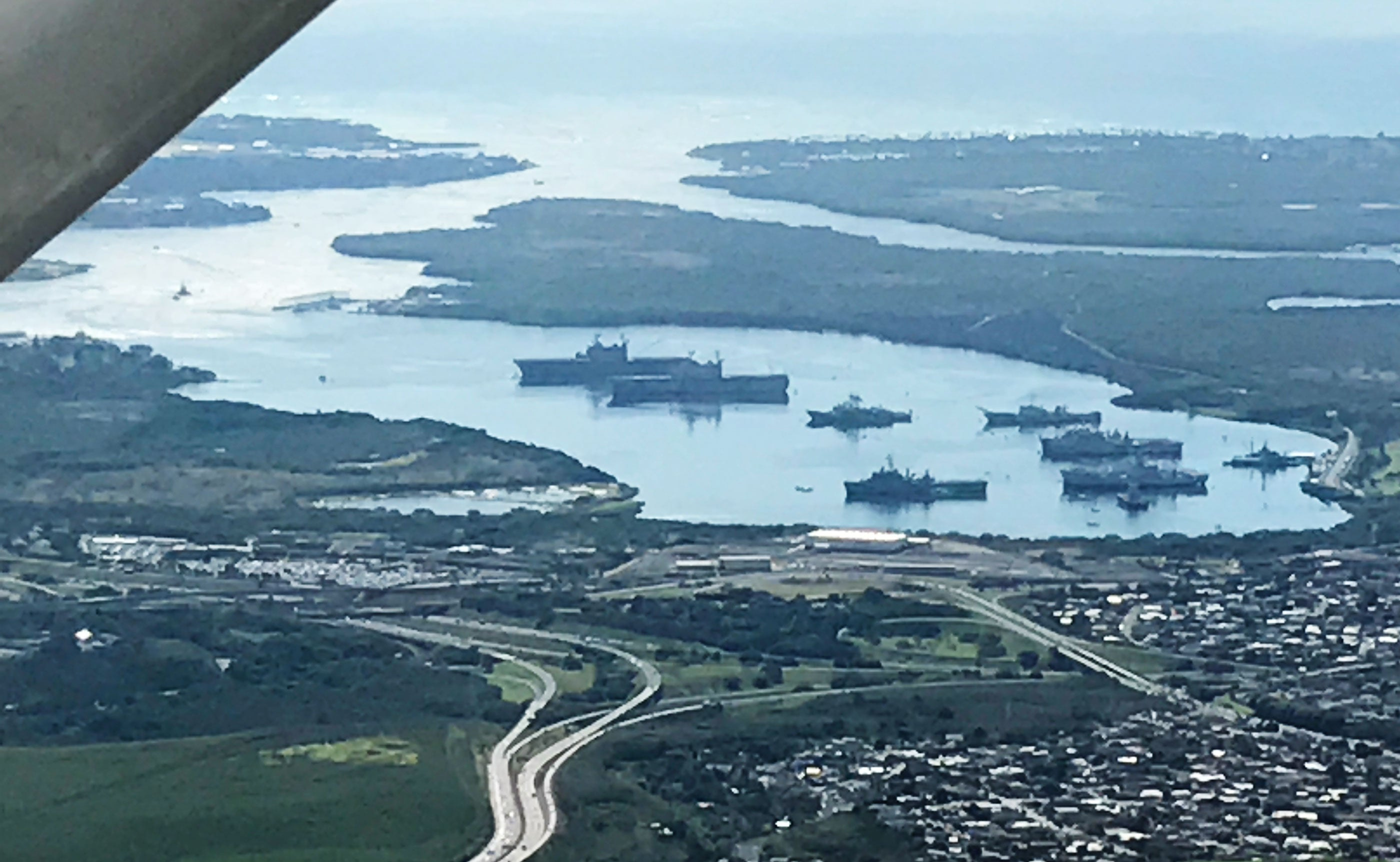 Flying over Pearl Harbor