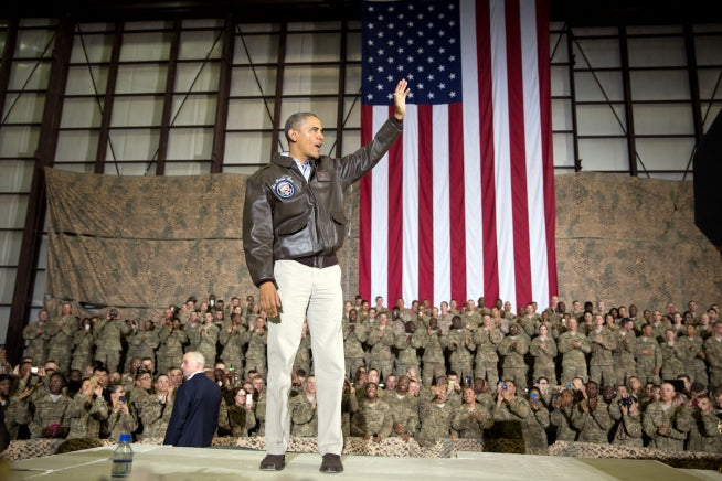 President Obama wearing a Cockpit USA Government Issue A-2 Flight Jacket while visiting troops