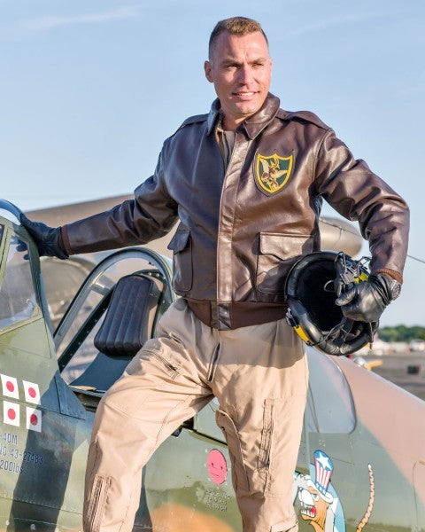 Thom Richard wearing Cockpit USA's 23rd Fighter Squadron A-2
