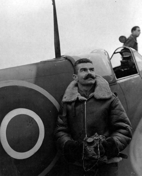 Photo of French Pilot flying with original RAF Jacket